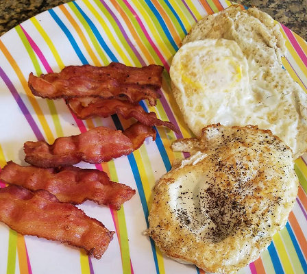 bacon and eggs for breakfast!
